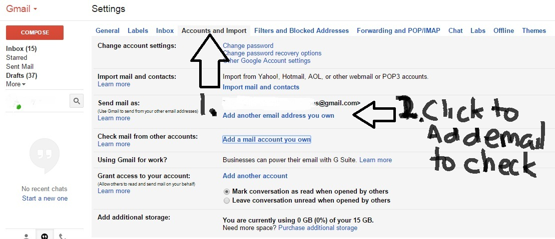 Sending and receiving email in gmail from another account